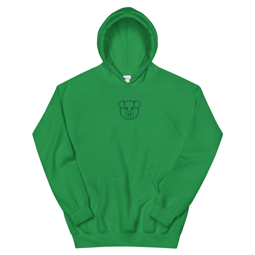 Embroidered Green Pig Green Hoodie